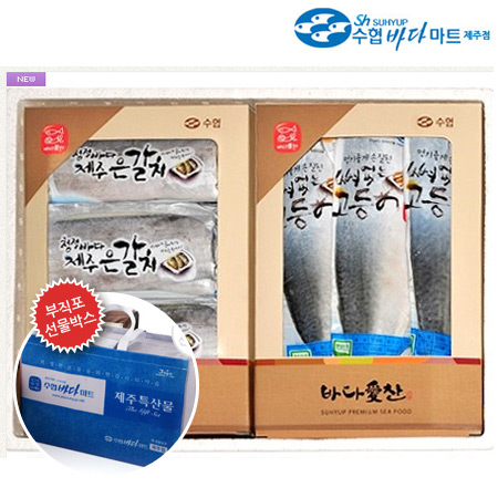 [제주도직송]수협바다마트 명품세트6호(갈치+고등어) - 토막갈치(특대) 3팩, 뼈없는고등어(특대) 7팩이식사